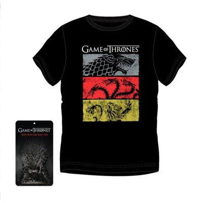 Camiseta adulto Juego de Tronos 3 colores 3 casas