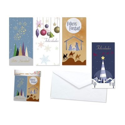 Tarjetas Navidad c/sobres Felices Fiestas