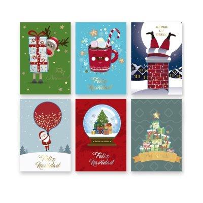 Tarjetas purpurina c/sobres Navidad