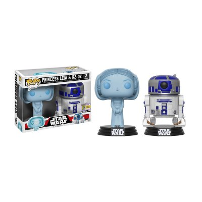 Pack 2 Funko POP! Vynil Bobble Star Wars Leia holográfica y R2-D2