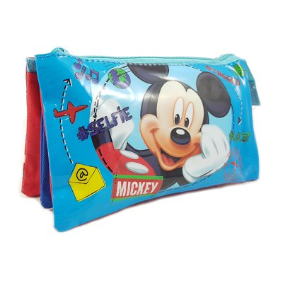 Estuche 3 compartimentos Mickey Mouse 22x12cm