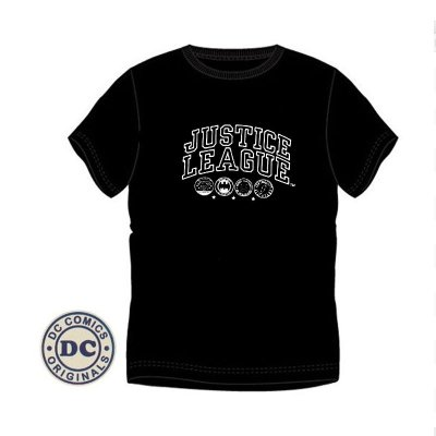 Camiseta adulto Liga de la Justicia negra logos con bordado