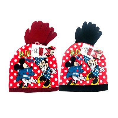 Set gorro y guantes Mickey y Minnie Fun