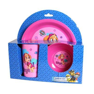 Set desayuno plástico Paw Patrol Skye (La Patrulla Canina) color rosa