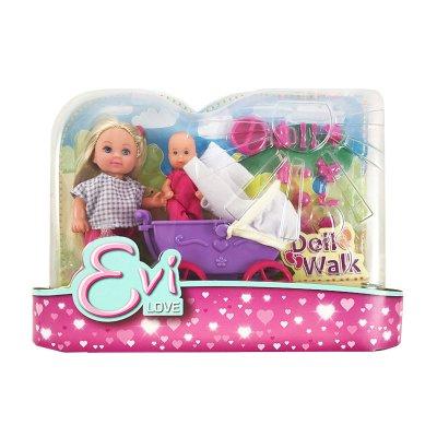 Muñeca Evi Love Doll Walk - modelo carrito morado