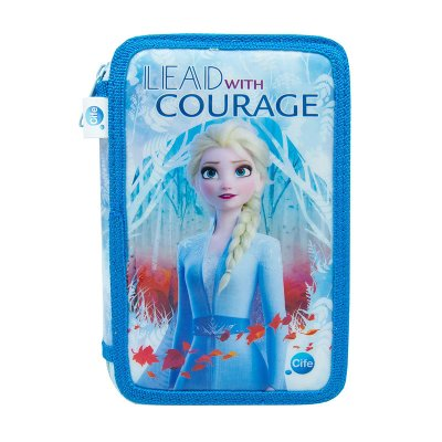 Estuche relleno 3 cremalleras Elsa Frozen 2