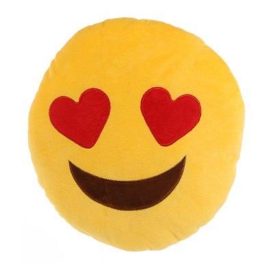 Cojín peluche emoji ojos corazón 27cm
