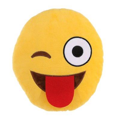 Cojín peluche emoji guiño y lengua fuera 27cm