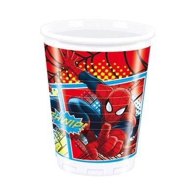 8 vasos de plástico desechables 200ml Spiderman