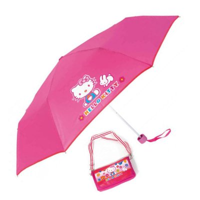 Paraguas plegable manual Hello Kitty c/bolsito 52cm