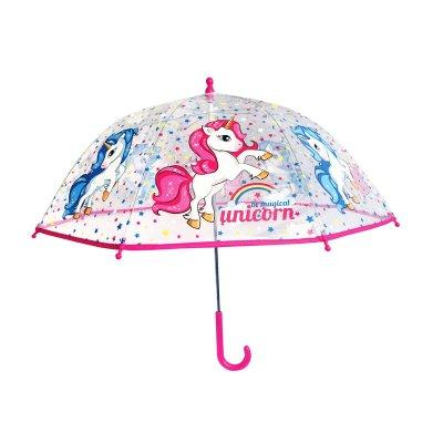 Paraguas transparente manual Unicornio 45cm
