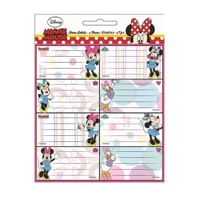 16 etiquetas adhesivas nombre Happy Minnie Mouse