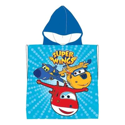 Poncho con capucha toalla algodón Super Wings