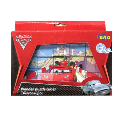 Puzzle cubos madera Cars Disney 15pzs