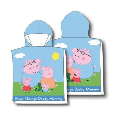 Poncho toalla con capucha microfibra Peppa Pig Family