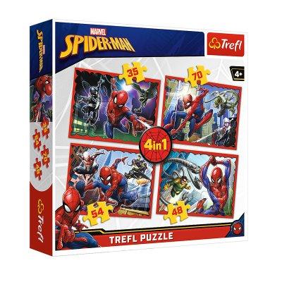Puzzles 4 en 1 Spiderman 35 48 54 70pzs