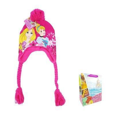 Gorro de invierno con trenza Princesas Disney con bolsa regalo