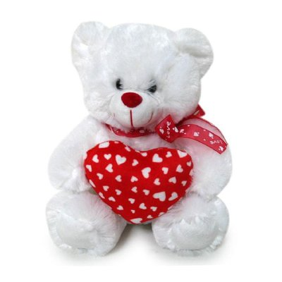 Peluche oso blanco con corazón 25cm