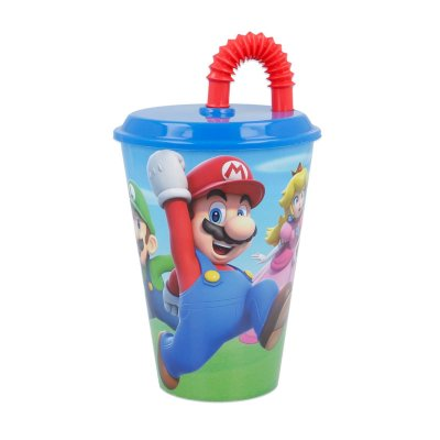 Vaso con caña 430ml Super Mario