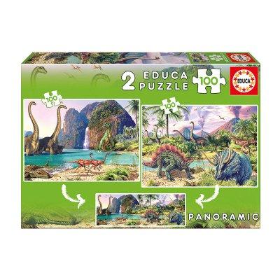 Puzzles Dino world 2x100pzs