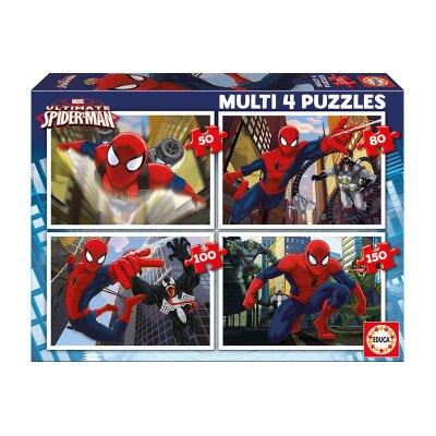 Multi 4 puzzles Spiderman 50 80 100 150pzs