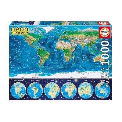 Puzzle Mapamundi Físico Neón 1000pzs