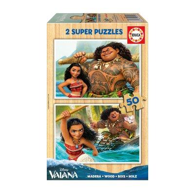 Puzzles madera Vaiana 2x50pzs