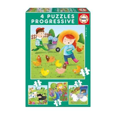 Puzzles Progresivos Animales de la granja 6 9 12 16pzs