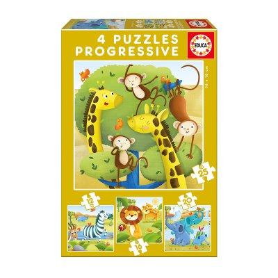 Puzzles Progresivos Animales salvajes 12 16 20 25pzs