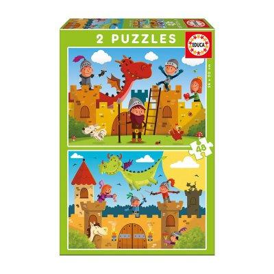 Puzzles Dragones y caballeros 2x48pzs