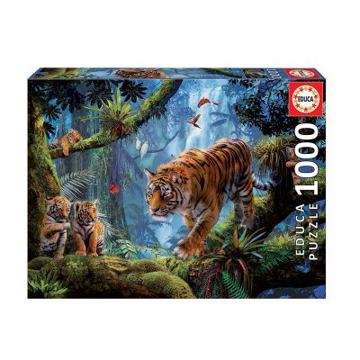 Puzzle Tigres en el árbol 1000pzs
