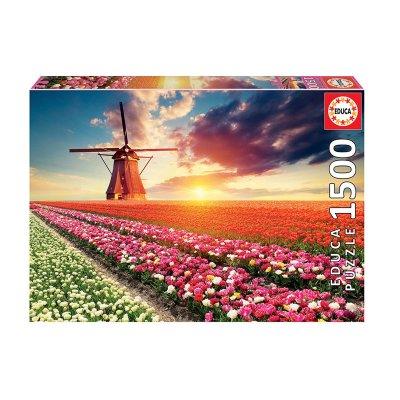 Puzzle Paisaje de tulipanes 1500pzs