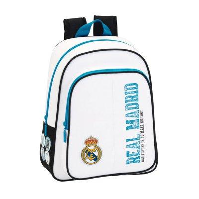 Mochila blanca 34cm dos cremalleras Real Madrid