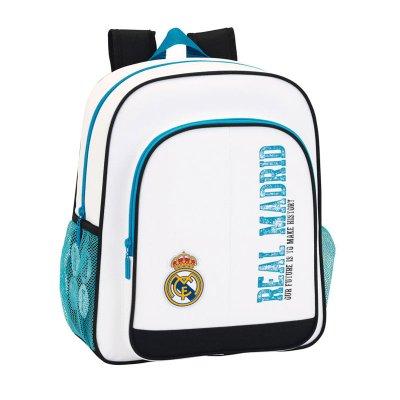 Mochila blanca 38cm dos cremalleras Real Madrid