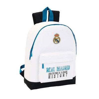 Mochila blanca 43cm con cremallera Real Madrid