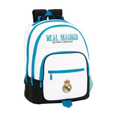 Mochila blanca 42cm tres cremalleras Real Madrid