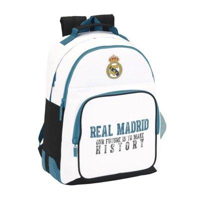 Mochila blanca 42cm con cremallera Real Madrid