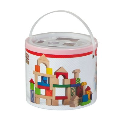 Cubo 50 bloques de madera natural Play & Learn
