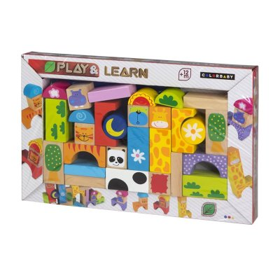 Juego blocs madera animales Play & Learn