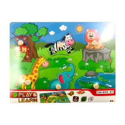 Puzzle madera encajable animales en la selva