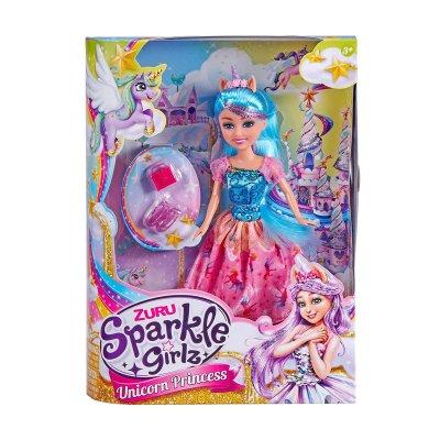 Muñeca Unicorn Princess Sparkle Girlz - azul