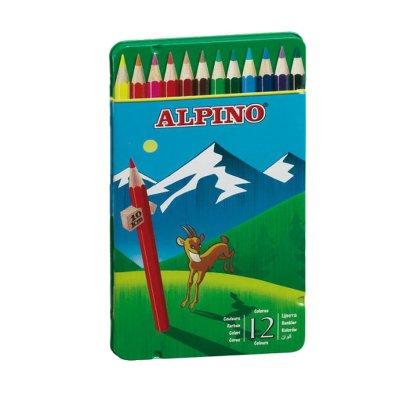 Lápices Alpino 12 colores en caja metálica