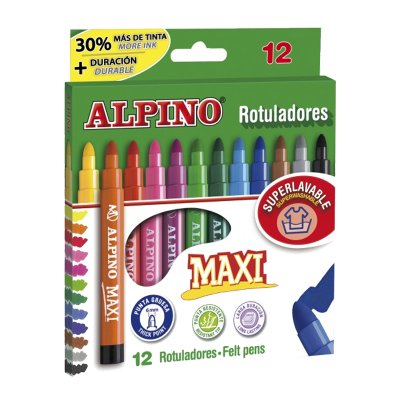 Distribuidor mayorista de Rotuladores Maxi Alpino 12 colores 6.0mm