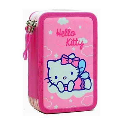 Estuche relleno 3 cremalleras Hello Kitty