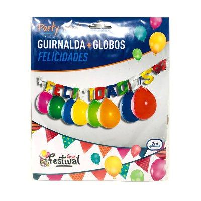 Guirnalda de fiesta c/globos Felicidades