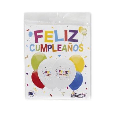Set 6 globos Feliz Cumpleaños