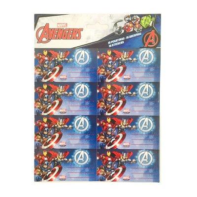 16 etiquetas adhesivas nombre Los Vengadores Marvel