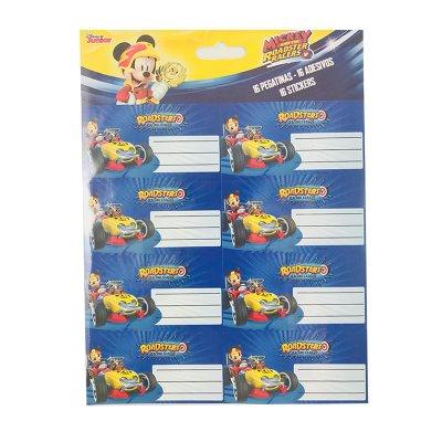 16 etiquetas adhesivas nombre Mickey and The Roadster Racers