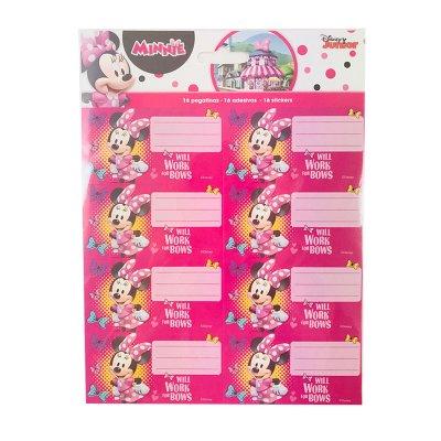16 etiquetas adhesivas nombre Minnie Mouse