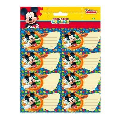16 etiquetas adhesivas nombre Mickey Disney Club House